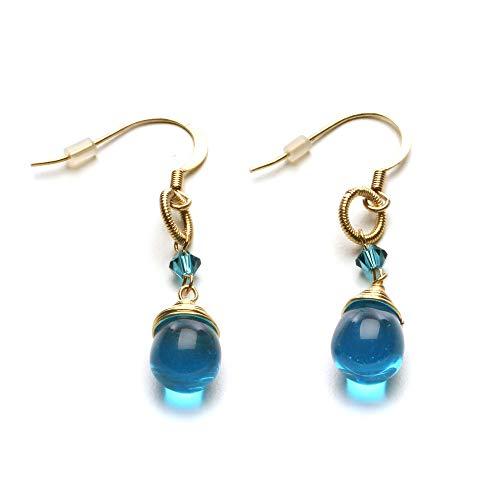 LookLove Womens Fashion Jewelry Blue Glass Bead Earrings 1-3/4