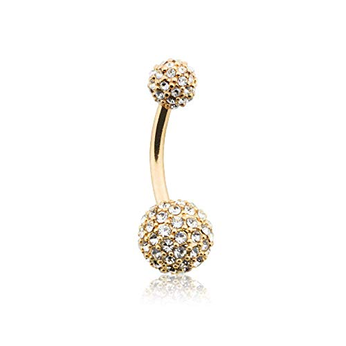 Golden Pave Diamond Full Dome Cluster Belly Button Ring (14 GA, Length: 10mm, Ball: 5x8mm, Clear)
