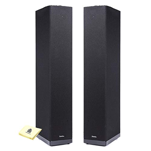 Definitive Technology BP6B Floor Speaker Tower Loudspeaker (Pair) with Full-Range Bipolar (Front and Rear) Speaker Technology Home Speakers Bundle with Zorro Sounds Speaker Cloth - Piano Gloss Black