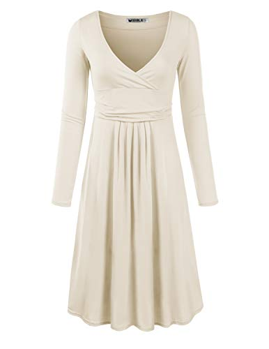 CLOVERY Women's Slimming Long Sleeve Fit-and-Flare Crossover Tummy Control Dress Ivory Small ()
