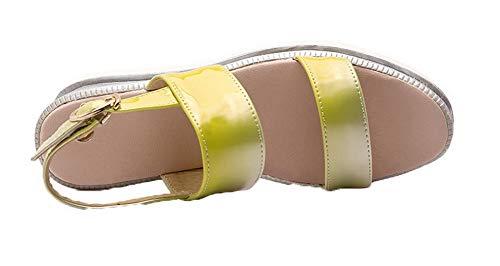 Femme Sandales Correct Couleur Unie à Jaune Talon AalarDom TSFLH007336 Ouverture d'orteil OXgdw8q8