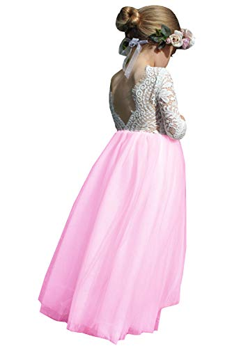 (2Bunnies Girl Peony Lace Back A-Line Straight Tutu Tulle Party Flower Girl Dresses (Lotus Pink Maxi, 3T))