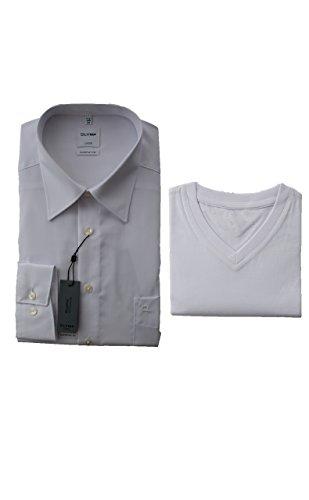 OLYMP Luxor Hemd, Weiß, Comfort Fit, Bügelfrei, inklusive T-Shirt V-Ausschnitt
