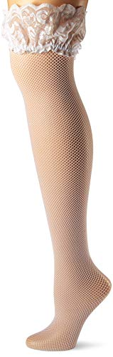 Seven Til Midnight Women's Plus-Size Fishnet Thigh High With Lace Top Stocking, White, Queen Size -