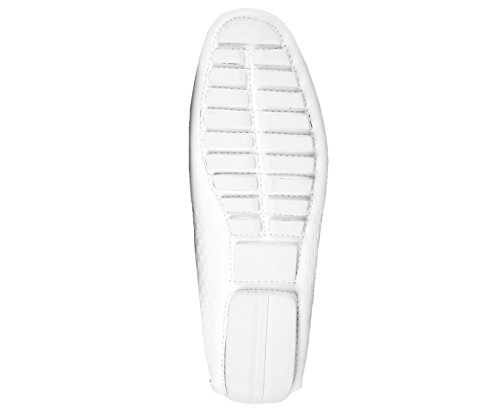 Amali Scarpe Casual Da Uomo In Ecopelle Liscia Con Fibbia Dision, Bianco Sq-roland