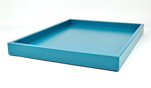 Low Profile Teal Blue Large Wood Ottoman Coffee Table Tray