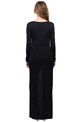 Manches Longues Irrégulière Extensible Mini Robe Longue Moulante Noire Des Femmes Dantiya