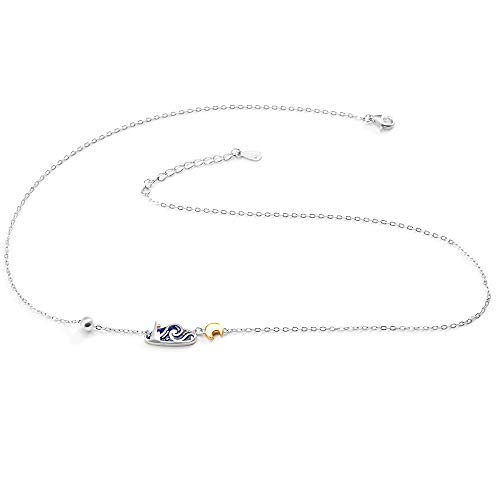 Thaya 925 Sterling Silver Moon and Starry Night Pendant Necklace Van Gogh's Sky Design Handmade Dainty Pendant Charm Necklace for Women Jewelry for Girl