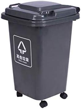 Csqing-Contenedor de basura Ruedas papelera, jardín al aire libre fácil de mover anuncio cubo de