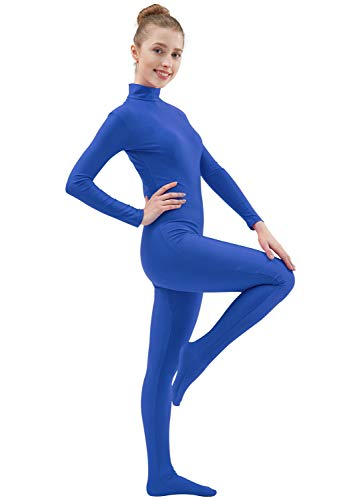 Ensnovo Womens Lycra Spandex Zentai Suits One Piece Footed Unitard RBlue,L