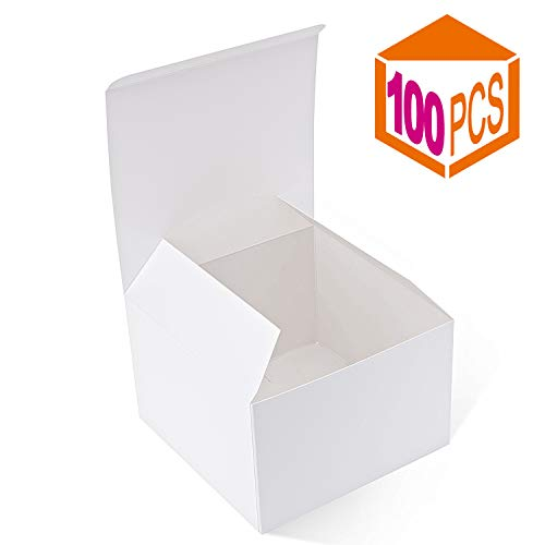 - MESHA Recycled Gift Boxes 6x6x4 Inches White Gloss Paper Boxes Kraft Favor Boxes for Party, Wedding, Gift (100)