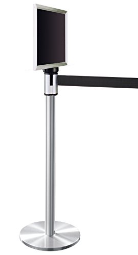 Glaro 152SA-BK-EXL1411SA 13' Retractable Belt Crowd Control Post - Satin Aluminum finish - Black Belt - Satin Aluminum Sign Frame Included by Glaro