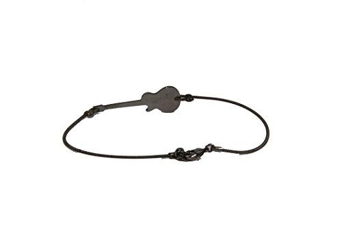 Bracelet SING A SONG corde guitare noire, Motif guitare gravée noire
