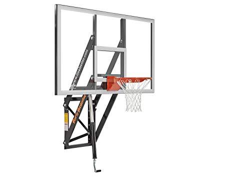 Goalsetter GS72 Wall Mounted Adjustable Basketball System with 72-Inch Glass Backboard and Flex Rim (Mini Enamel Basketball)