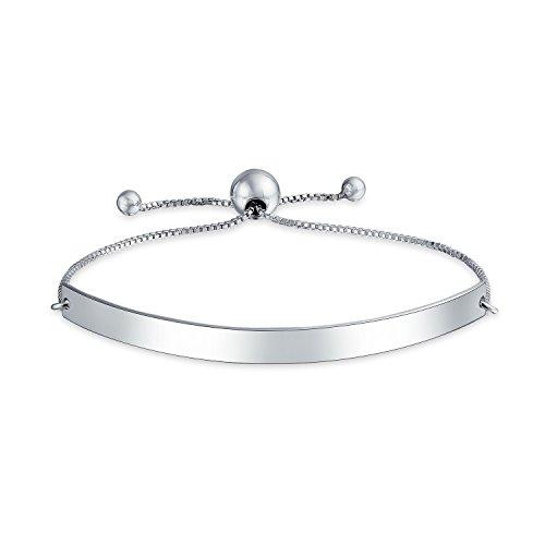 Identification ID Bracelet Engravable Name Plate Bar Bolo Bracelet For Women 925 Sterling Silver Adjustable ()