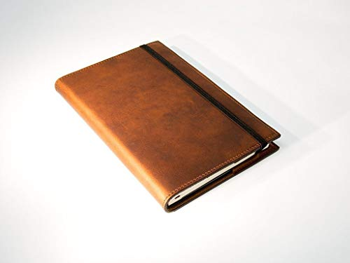 Leather Journal Cover for Moleskine Classic Journal Handcrafted from Full-Grain Horween Leather of Chestnut Color with Brown Stitching Personalized with Initials