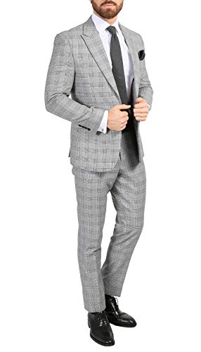 Ferrecci Men's Conrad Skinny Slim Fit Grey 2pc Glen Plaid Peak Lapel Suit (48 Regular)
