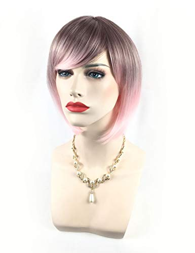 Wig Gradient Pink Ombre Black Roots Short Hair Synthetic Women Fashion Ladies Cosplay Halloween Party, 32-34cm