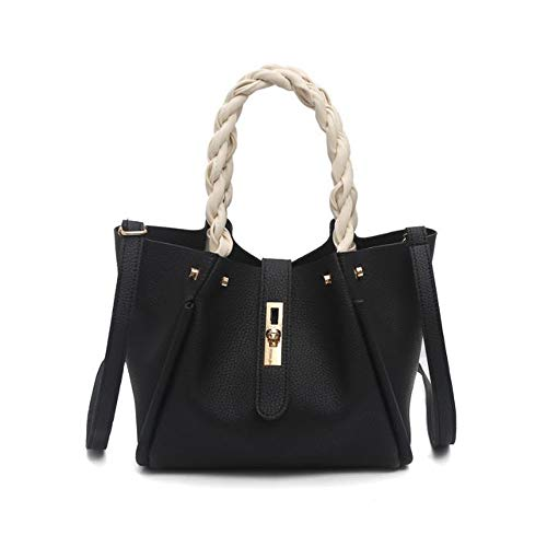 Special Twist Handle Ladies Handbag, Fashion Ladies Handbag, A Crossbody Bag, Easy Matching PU Leather Shoulder Bag, Best for Work, Travel and Everyday Use, 33 X 14 X 21 CM, Silver Black