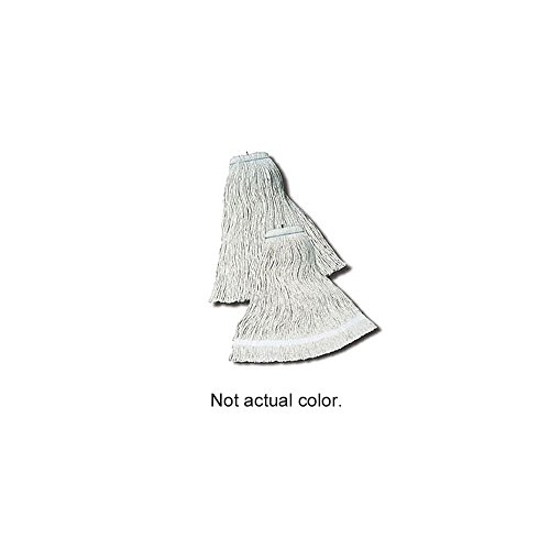 Impact 12124 Layflat Screw Type Cut End Cotton Wet Mop Head, Regular, 24 oz, White (Case of 12) by Impact Products