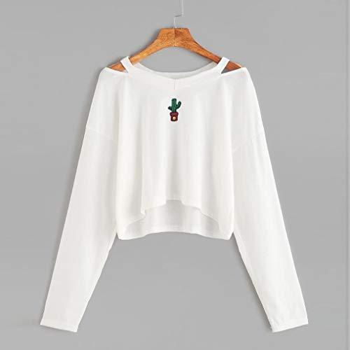 Épaule Meibax À Causal Blouse Blanc Smiley Longues Broderie Femme Manches Sweat Mode Tops Cactus ETqwxvXrTa