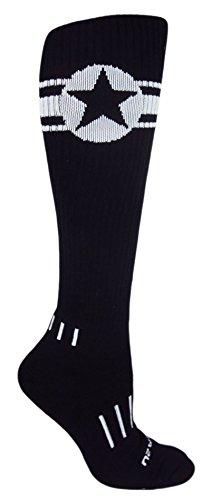 MOXY Socks Black with White American Star Knee-High Deadlift Socks
