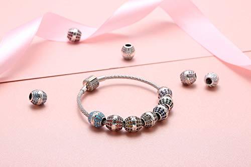 Clasp Bracelet 925 Sterling Silver Women charm Bangle Bracelets (6.7inch)