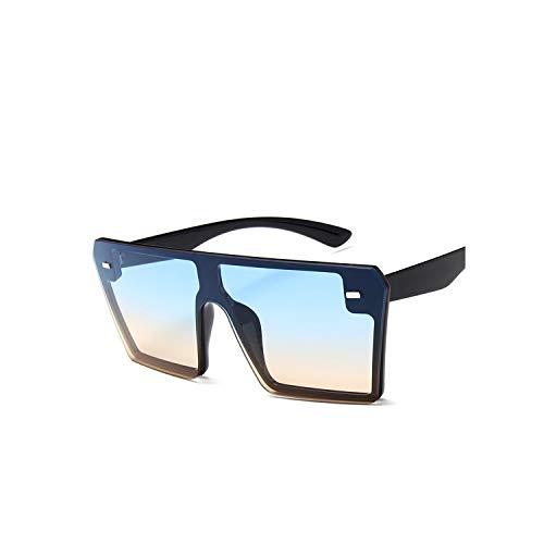 Square Sunglasses Women Flat Top Gradient Sun glasses Men Rimless Large Frame Oculos UV400 Points,Blue (Sonnenbrille Lanyard)