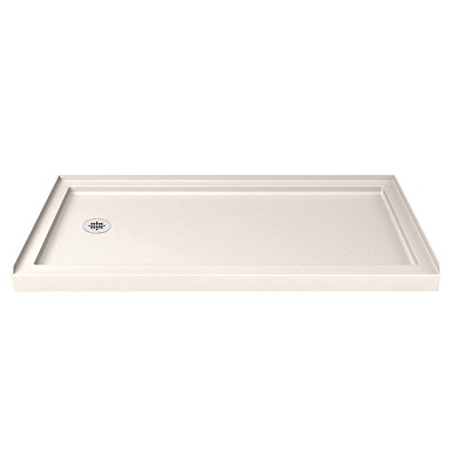DreamLine SlimLine 32 in. D x 60 in. W x 2 3/4 in. H Left Drain Single Threshold Shower Base in Biscuit (Tray Drain Shower)