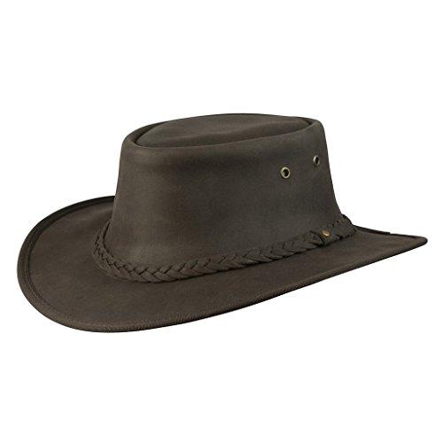 Conner Handmade Hats Lone Wolf Leather Hat X-Large, Brown (Conner Leather)