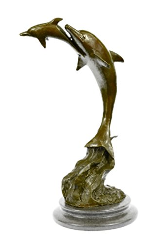 …Handmade…European Bronze Sculpture Signed Ferdinand Pautrot Dolphins Marine Mythical (XN-2393-EU) Bronze Sculpture Statues Figurine Nude Office …