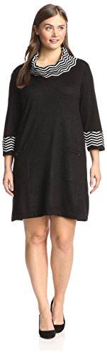 studio one Plus Women's Print Contrast Sweater Dress, Bla...