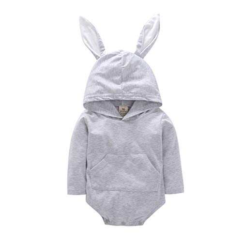 Newborn Infant Baby Girl Boy Bunny Hooded Romper Cartoon 3D Rabbit Hoodie Easter Outfit (Light Gray, 12-18 Months) -