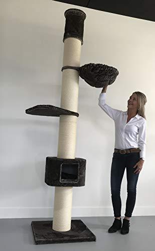 RHRQuality Rascador Grandes Gato Estable XXL Maine Coon Tower Caja Gris Techo Altura 235 – 260