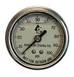 Water Well Pump Liquid Filled Back Mount Pressure Gauge 0 to 100 PSI, 1/4'' MNPT