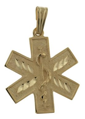 US Jewels And Gems 10k Yellow Gold Star Medical Alert ID Pendant
