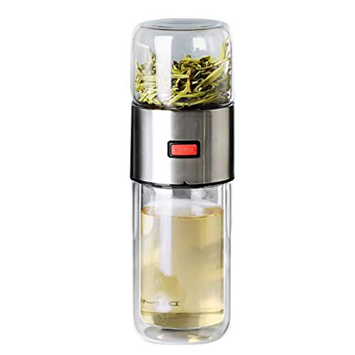 ErYao Double Wall Glass Water Bottle Tea and Water Separation Tea Bottle Mug Cup with Tea Infuser (Silver)