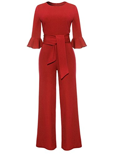 Women Elegant Solid Color O Neck Half Sleeve Wide Leg Long Jumpsuits Rompers Pants With Belt X-Large Red