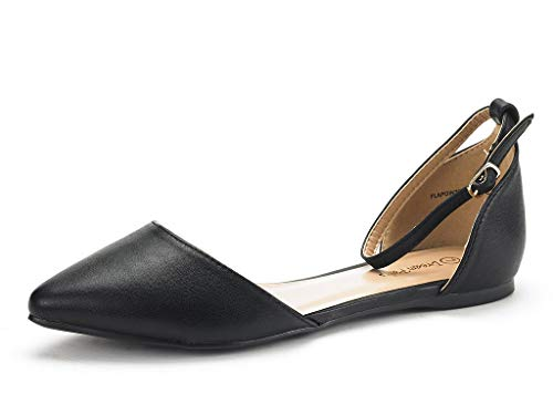 DREAM PAIRS Women's Flapointed-New Black Pu D'Orsay Ballet Flats Shoes - 11 M US -