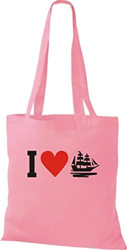 JUTA Borsa di stoffa I LOVE BARCA VELA,CAPITANO - rosa, 38 cm x 42 cm