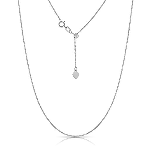 10K White Gold Adjustable Wheat Chain Necklace, 24 Inch - Gold Wheat Design
