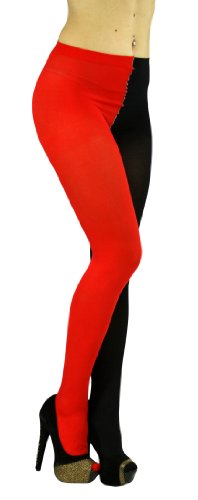 ToBeInStyle Women's Two Toned Jester Tights W/Reinforced Toe - One Size: Regular - Black/Red