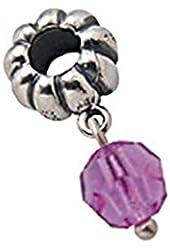 Zable Sterling Silver June Purple Crystal Dangle Bead