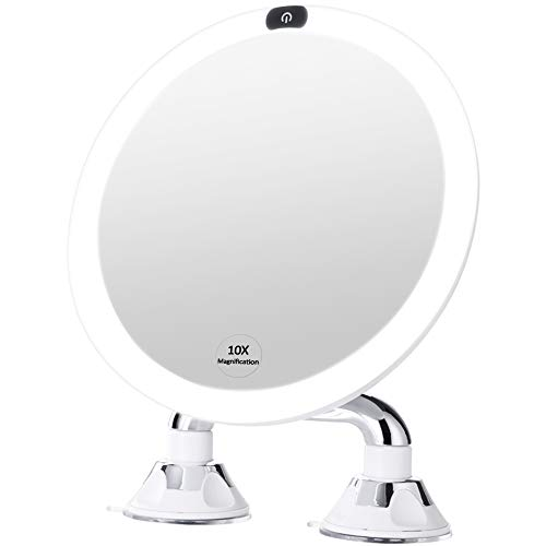 "KEDSUM 9"" Rechargeable 10x Magnifying LED Lighted Makeup Mirror, Dimmable Vanity Mirror with Dual Suction Cup, Touch Switch and ON/Off Button, 360 Degrees Rotation, Daylight Color, USB Operated"