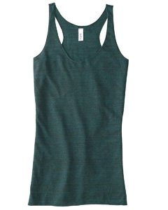 Bella Ladies' 4 Oz. Sylvia Tri-Blend Racerback Tank, Emerald Heather, 2Xl