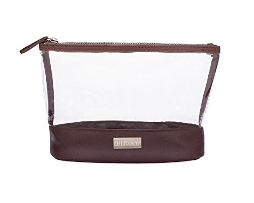 LE LUXACE Smoky Quartz + Diamond Jetsetter Travel Pouch - Premium TSA Approved Travel Toiletry Bag - Clear and Dark Brown Cosmetic Case With Zipper