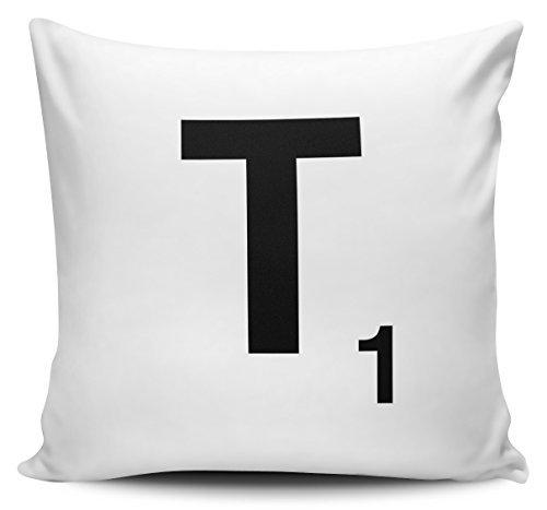 OneMtoss Decorative Pillow Cover Alphabet Letter Scrabble Cushion Cover - Letter T Pillow Case 20X20 Inches ()