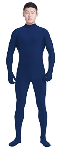 Ensnovo Mens Mock Neck Full Body Unitard Spandex Zentai Suits Costumes Navy, S (Atm Costume)