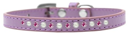Mirage Pet Products Pearl and Pink Crystal Lavender Puppy Dog Collar, Size 8 by Mirage Pet Products