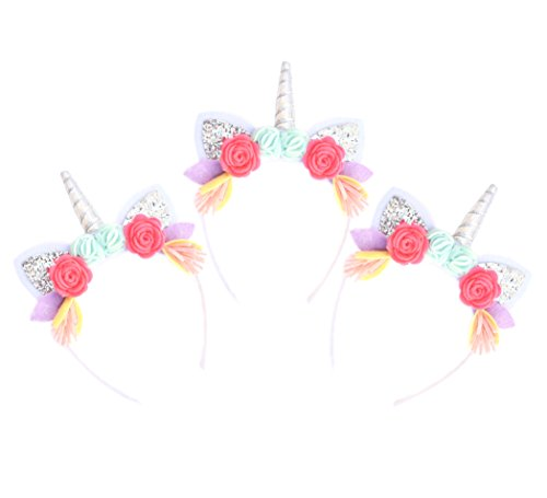 (California Tot Unicorn Felt Floral Crown Headband with Glitter Ears for Babies, Toddlers, Girls (3 Pack)